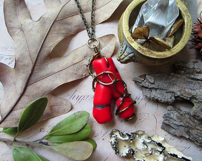 """Boho necklace """"Good Luck"""" with wire wrapped wishbone shaped red coral. Custom length chain."""