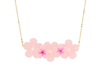 Cherry Blossom Necklace - Pink Acrylic Flower Necklace