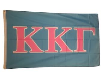 Kappa Kappa Gamma Light Blue/Light Pink Letter Flag 3' x 5' kkg