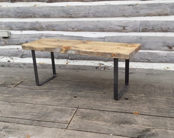 Hallway Bench / Metal Leg Bench / Metal Base Bench / Steel Lgs Bench / Industrial Shoe Bench / Metal Wood