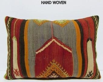 boho pillow cover 16X24 handmade pillow upholstery fabric sitting pillow oversize throw pillow decorative rug bright kilim pillow sham 31077