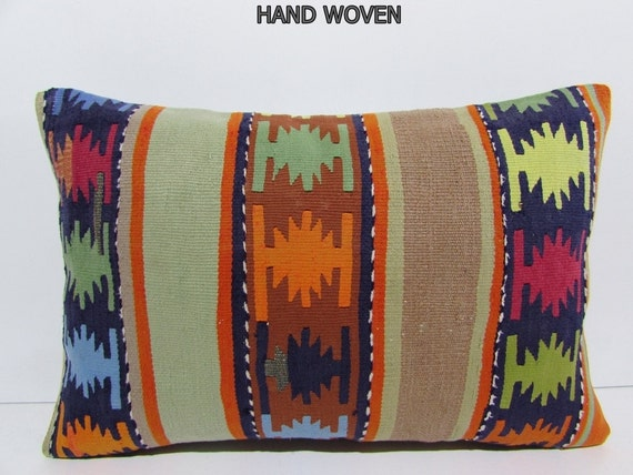 Southwestern Pillow Covers 24 X 24 : 16x24 history kilim pillow southwestern lumbar pillow aztec