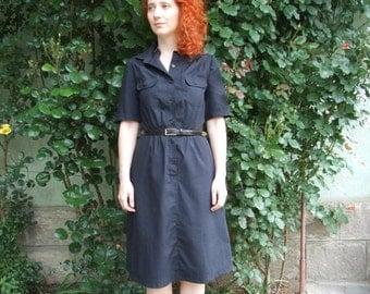ON SALE 80's vintage women's black minimal dress