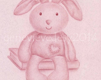 8x10 Print - Plush Bunny Art Print - Nursery Art Print - Kids Wall Art - Nursery drawing, 8 x 10 in