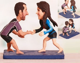 Jiu Jistu Ground Fighting Grappling Wedding Cake Topper - Personalised wedding cake topper  (Free shipping)