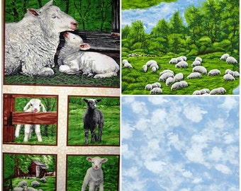 Lamb Meadow Cotton Fabric by Exclusively Quilters! [Choose Your Cut Size]
