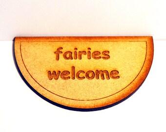 Fairy Door Welcome Mat Elf Wooden Laser Cut Fairies Pixies Handmade Accessory