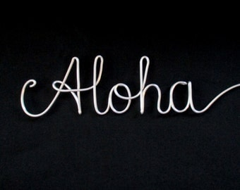 wire word aloha,wire words,aloha,wire writing,wire script words,wire cursive words,wire word art,wire hanging words,decorative sign,wire art