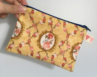 Vintage Rose Print Zip Pouch (Small)