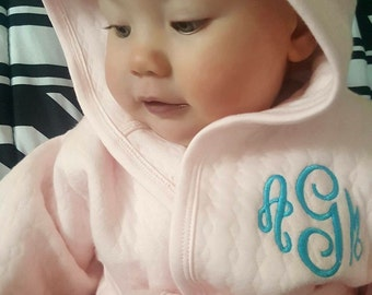 Baby robe, personalized baby gift, monogrammed girl boy cotton hooded robe, photo prop, baby shower gift, monogram gift for boy, girl pink