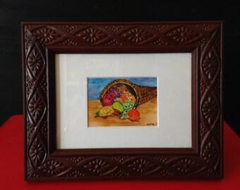 "Original Art, Watercolor ""Cornucopia"", custom framed miniature painting, Thanksgiving ACEO."