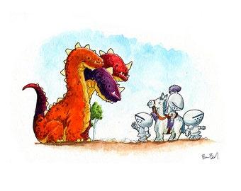 Three Knights - One Dragon? Watercolor Print