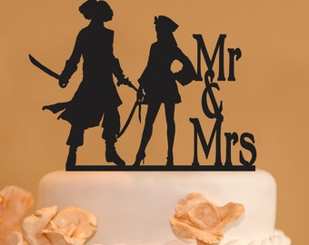 Pirates wedding cake topper - Mr. and Mrs. Wedding Cake Topper - Pirate cake topper - Woman pirate topper - silhouette topper