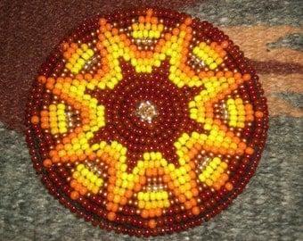 """Native American Hand Beaded 2 1/2"""" Orange Yellow """"Sunburst"""" Rosette/Medallion"""