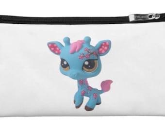 Custom Small Cherry Blossom Giraffe Makeup Bag Clutch