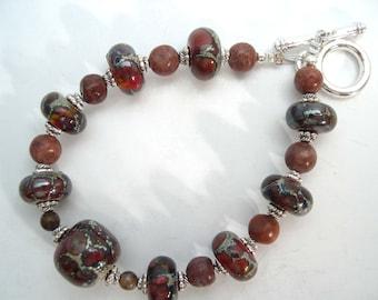 Lampwork bracelet with Red Marble, Lampwork bead bracelet, Organic lampwork beads, Glass bracelet, Handmade beaded bracelet