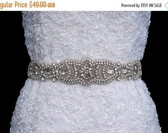 SALE - Wedding Sash Belt , Bridal Sash Belt , Handmade Crystal Rhinestone Sash Belt , Wedding Sash , Bridal Belt , Bridal Sash