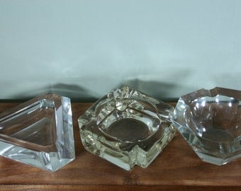 Collection of Three Clear Glass Ashtrays