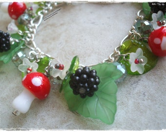 Toadstool bracelet, Blackberry bracelet, Hedgerow bracelet, Autum bracelet