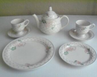 Sango Rose Chintz Teapot Cups & Saucers And Plates