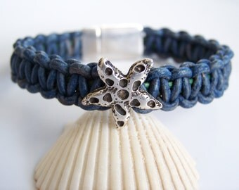 Blue and Green Leather Cord Macrame Starfish Focal Bracelet - Item R4194