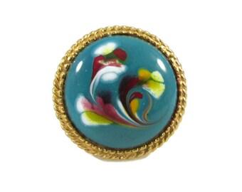 Colorful Florenza Art Glass Adjustable Ring