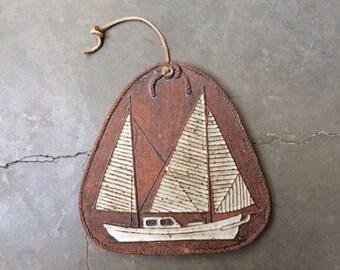 Victoria Littlejohn Ceramic Modern Sailboat Design Trivet/Wall Art