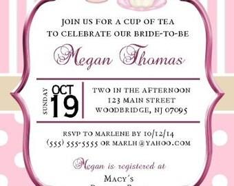 Teacup, Teapot, Bridal Shower Invitations, Bride, Printable, DIY