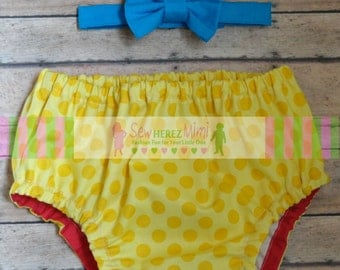 CIRCUS Cake Smash Yellow Dot Red Turquoise 1st Birthday Diaper Cover Bow Tie Optional Suspenders