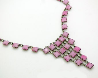 Vintage Art Deco Open Backed Pink Striped Art Glass Waterfall Sterling Silver Necklace