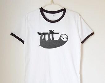 Sloth shirt sloth tee funny shirt animal shirt chic shirt teen tee tshirt ringer tee shirt long sleeve short sleeve women tshirt men tshirt