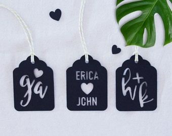 Custom Black Monogram Kraft Scalloped Swing Tags for Wedding Favours with String 10 Pack | 25 Pack | 50 Pack and 100 Pack Available.