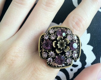 Lavender & Deep Purple Flowering Statement Ring