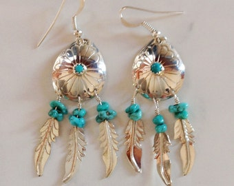 Native American Navajo Sterling Silver Turquoise Concho Feather Dangle Earrings