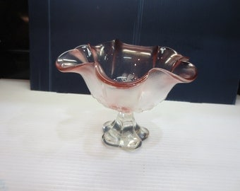 Mikasa Rosella Pink Frosted Pressed Glass Compote about 8 x 6