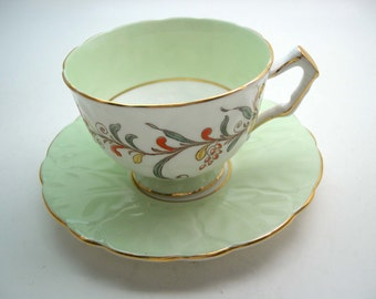Vintage Aynsley Mint Green Tea Cup And Saucer, Aynsleyhand painted Teacup, Textured tea cup set.