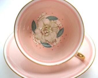 Rare Antique Susie Cooper Tea cup and saucer set, Peachy pink Tea cup And Saucer, Floral tea cup.