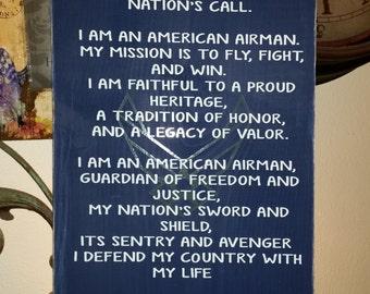 Air force USAF Airman Creed Sign