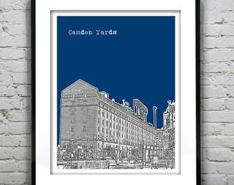Camden Yards Poster Skyline Art Print Baltimore Maryland MD