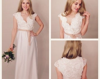 SADIE - Cross over bodice bridal gown with little cap sleeves & silk chiffon skirt - corded lace - ivory - wedding dress - bridal gown