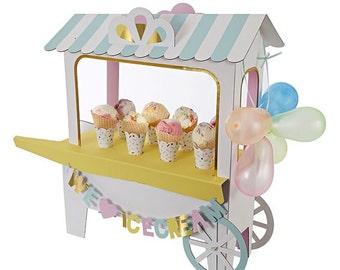 Meri Meri, icecream cart, table centrepiece, icecream party, rainbows and unicorn, donut theme, pastel decoration, baby shower, 1st birthday