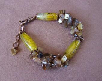 Agate bracelet Yellow brown Stones Cluster bracelet Beaded Magic Trend Fashion Elegant bracelet Unique gift for women Christmas gift mom