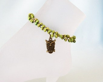 Wood and Brass Owl Ankle Bracelet