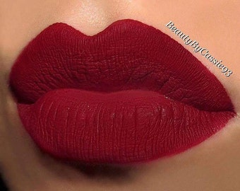 Deep cranberry red long wear liquid lipstick Bold and Sassy