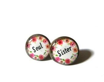 SOUL SISTER EARRINGS - Soul Sister Jewelry - My Soul Sister - Soul Sister Present - Sister Gift - Gift for Sister - Gift for Friend