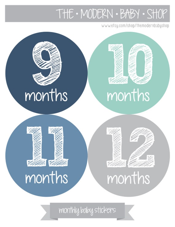 18 Month Stickers: Baby Month Stickers Monthly Baby Boy Stickers By