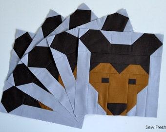 Bear Quilt BLOCK Pattern, PDF, Instant Download, modern patchwork, bear, animal, forest, woodland