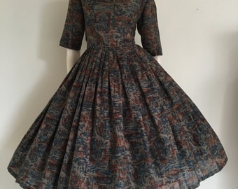 GORGEOUS Novelty European Seaside Boat Print 50's Party Dress / Full Skirt / Medium / Toile Print