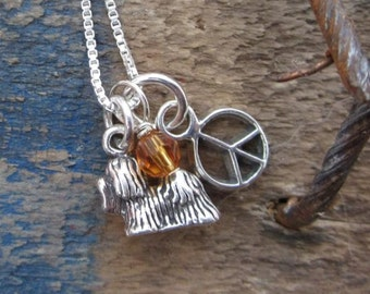 Shih Tzu Necklace- Mini Peace Custom Sterling Silver Necklace (Your Choice of Birthstone and Initial)
