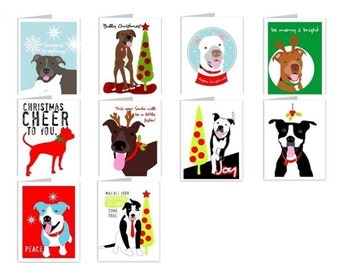 Pit Bull Season's Greetings Note Cards - Pit Bull Christmas Cards, Pitbull Christmas Cards, Pit Bull Holiday Cards, Pitbull Holiday Cards